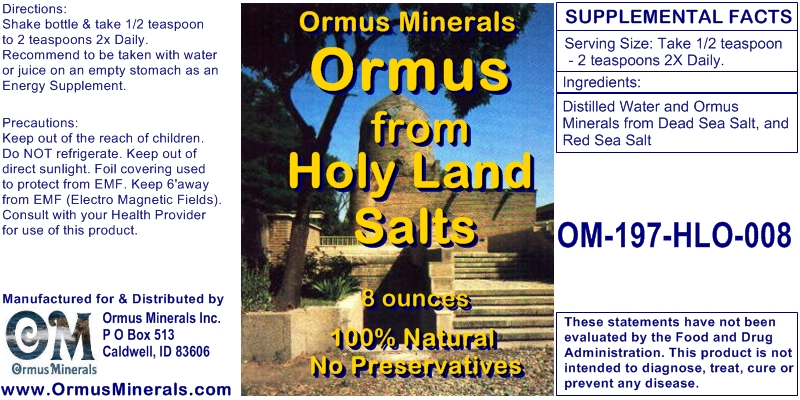 Ormus from Holy Land Salts